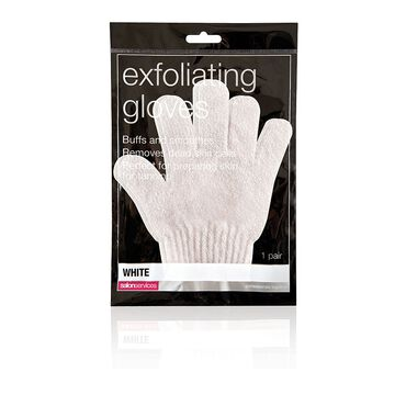 Salon Services Exfoliating Gloves White