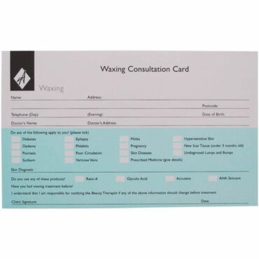 Beauty Express Waxing Record Cards Pack of 50