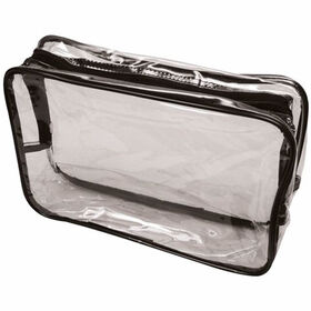 Beauty Express Black Trim Transparent Bag