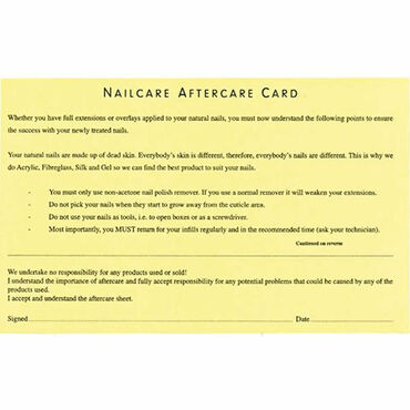 Beauty Express Nail Aftercare Record Cards Pack of 50