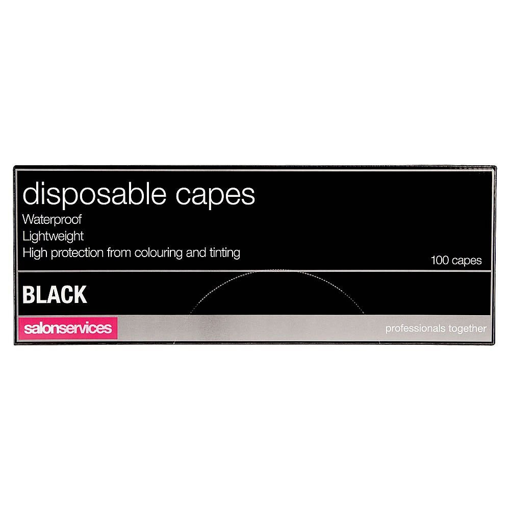 Salon Services Disposable Capes Black Pack of 12
