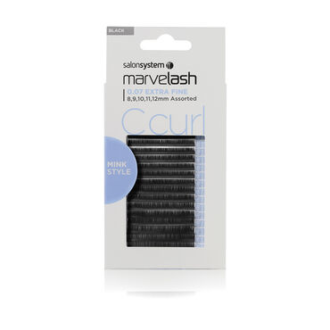 Salon System  Marvelash C Curl Lashes 0.07 Extra Fine, Assorted Length, Mink Style     Black Each