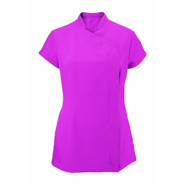 Alexandra Women's Easycare Wrap Zip Beauty Tunic - Hot Pink