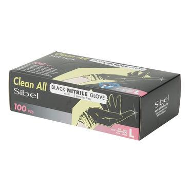 Sibel Black Nitrile Gloves, Large, Pack of 100