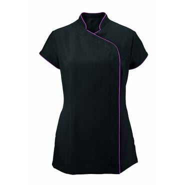 Alexandra Women's Easycare Wrap Zip Beauty Tunic - Black/Pink