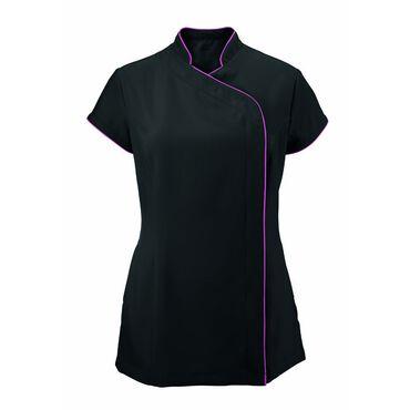 * Alexandra Women's Easycare Wrap Zip Beauty Tunic - Black/Pink