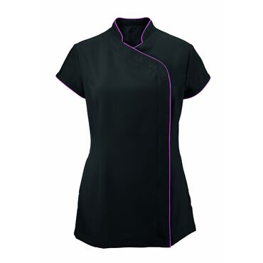 Alexandra Women's Easycare Wrap Zip Beauty Tunic - Black/Pink