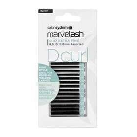 Salon System  Marvelash D Curl 0.07 Extra Fine, Assorted Length, Mink Style Black Each