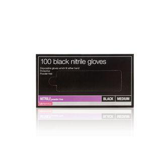Salon Services Black Nitrile Powder Free Gloves Pack of 100