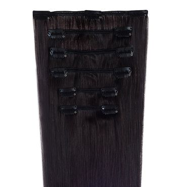 Wildest Dreams Clip In Half Head Human Hair Extension 18 Inch - 1B Barely Black