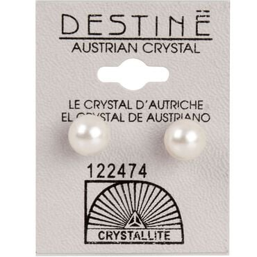 Crystallite White Extra-large Pearl Ear Studs 8mm