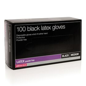Salon Services Latex Gloves Black Medium pack of 100
