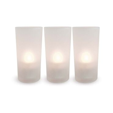 Smart Candle Frosted Glass Candle Holders Pack of 12