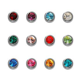 Caflon White Stainless Steel Assorted Birthstone Studs 12 Pack