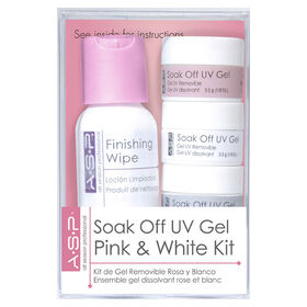 ASP Soak Off UV Gel Pink and White Kit