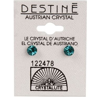 Crystallite Green Diamond Cut Ear Studs 5mm