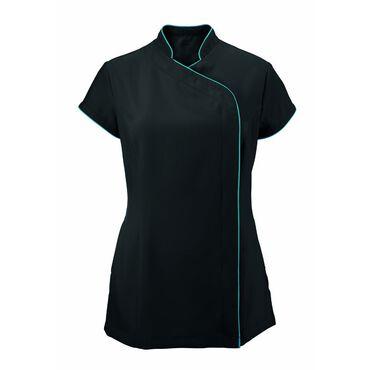 * Alexandra Women's Easycare Wrap Zip Beauty Tunic - Black/Peacock