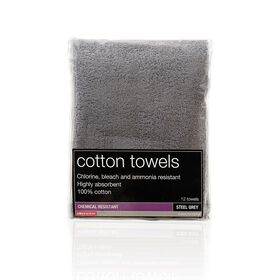 Salon Services Bleach Resistant Towel Steel Pack of 12