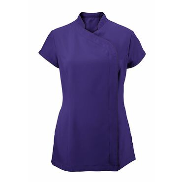 Alexandra Women's Easycare Wrap Zip Beauty Tunic - Amethyst