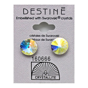Crystallite Rivoli Stud Earrings, 11mm