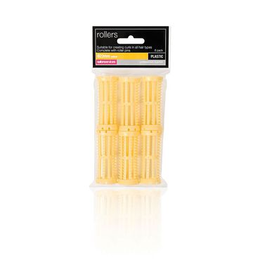 Salon Services Plastic Rollers Yellow 23mm Pack of 6