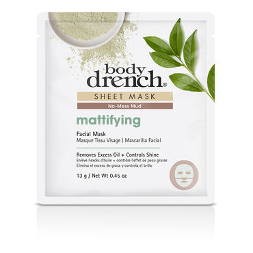 Body Drench No-Mess Green Mud Mattifying Sheet Facial Mask 13g