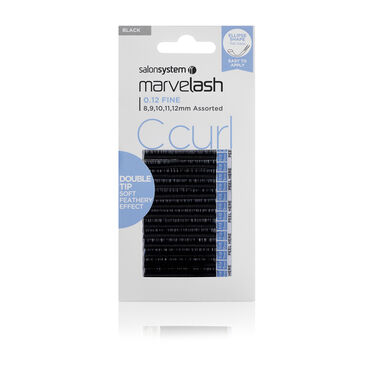 Salon System  Marvelash C Curl Lashes 0.12 Fine, Double Tip Ellipse, Assorted Length Black Each