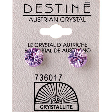Crystallite Violet Extra-large Ear Studs 8mm