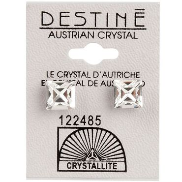 Crystallite Clear-faceted Square Ear Studs 8mm