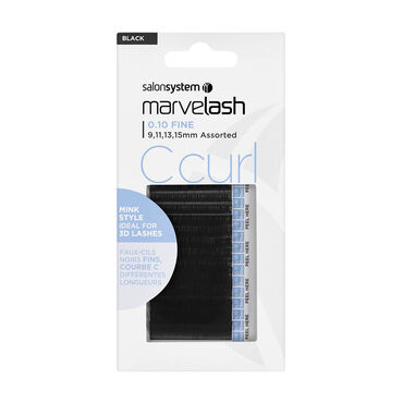 Salon System  Marvelash C-Curl Lashes 0.10 Fine, Assorted Length, Mink Style  Black Each