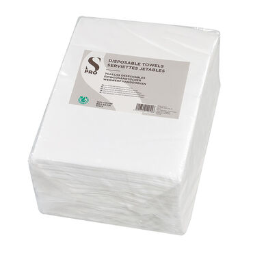 S-PRO Disposable Towels, White, Pack of 50