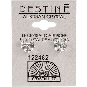 Crystallite Clear Tilted Cube Ear Studs 6mm