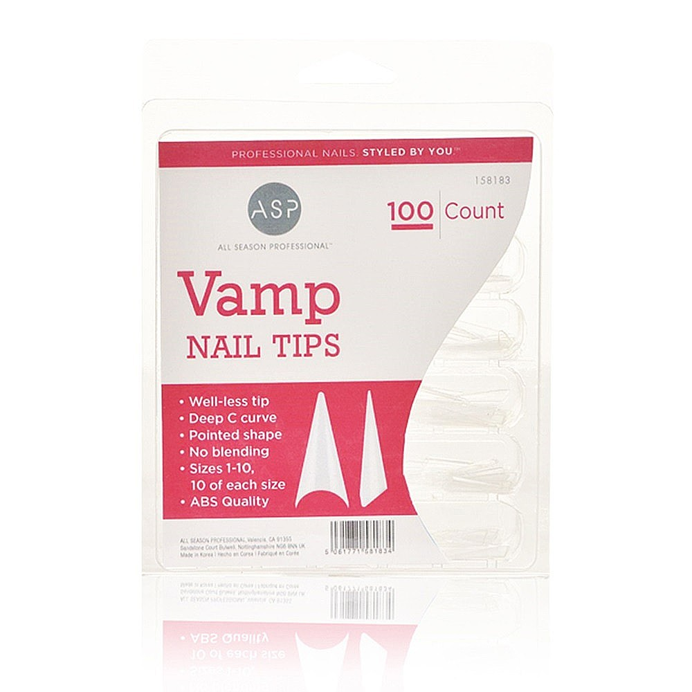 ASP Vamp Nail Tips 100 Pack | Nail Tips, Forms & Glue | Salon Services
