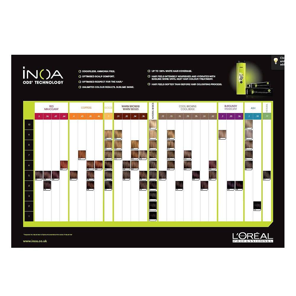 Loral Professionnel Inoa Ods2 Shade Chart Shade Charts Salon