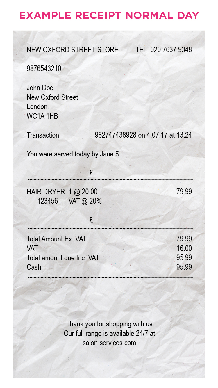 Normal day receipt