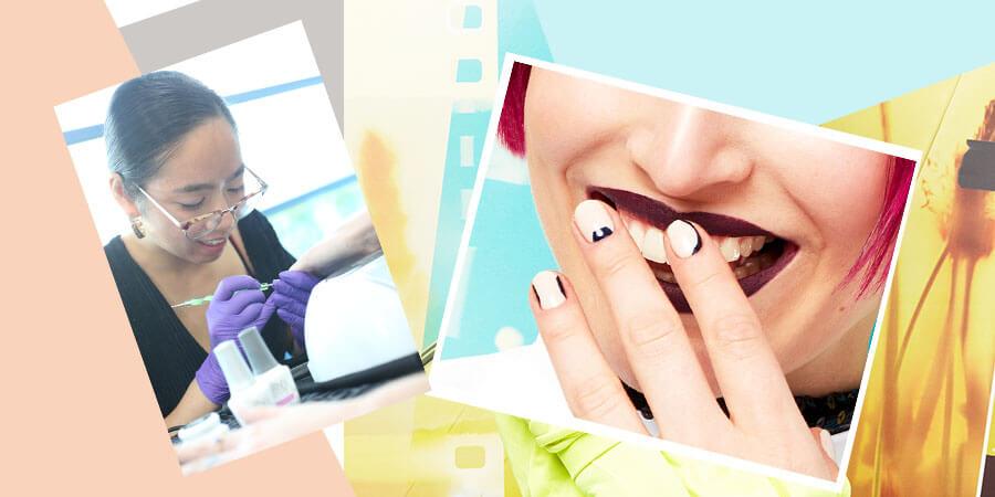 Hot Pink Box Bob & Graphic Nails